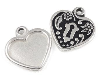Antique Silver Heart Pendant Photo Pendant Picture Frame Heart Bezel Silver Pendant TierraCast Heart Lock Photo Frame Setting (P961)