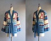 1970s Cardigan / Vintage 70s Spaced Dyed Belted Cardigan / 70s Deadstock Unworn Blue Striped Snowflake Sweater
