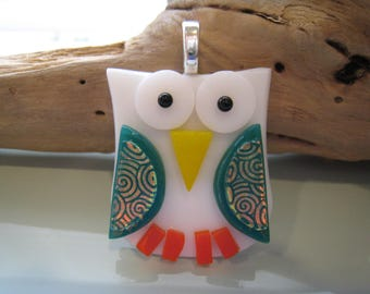 Fused glass OWL Pendant w/ matching silk ribbon~ One Of A Kind (White/Teal/Orange)