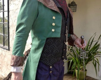 Green and Brown Tapestry French Steampunk Wedding Frock Cutaway Coat