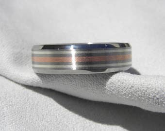 Titanium with Copper and Silver Stripes Ring, Wedding Band, Brushed/Polished Finish