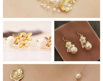 Mismatch Set of Complimentary Bridesmaid Jewelry, Gold Flower and Pearl Bridesmaid Necklace and Earring Gift