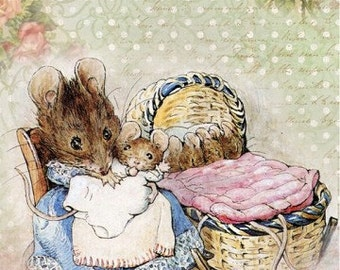 Beatrix Potter Mice Mother & Babies Reproduction Fabric Crazy Quilt Block Free Shipping World Wide
