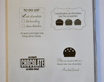 Eat Chocolate Stampin' Up! Stamp Set of 4 Stamps NEW