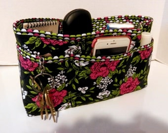Quilted Purse Organizer Insert With Enclosed Bottom Large - Black and Rose Floral Print