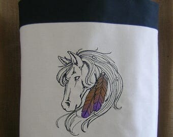 Horse Tote Bag, Embroiderd Horse with Feathers Tote Bag, Tote Bag