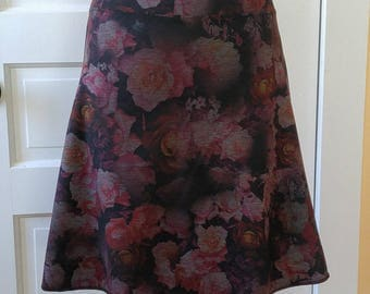 Jersey Knit Skirt - Slim A-line - Floral Space Dye Pattern in Rose - Size Small