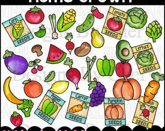 Home Grown Fruit and Vegetable Clipart