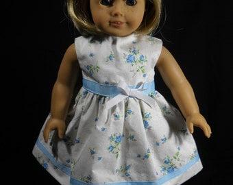 "White with Blue Flowers American Girl 18"" Doll Dress Handmade"