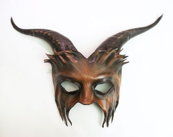 Leather Goat Mask in black and brown with detail etched face lightweight and easy to wear with heavy elastic straps