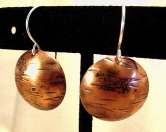 Hammered copper earrings - mixed metal earrings - copper disk earrings - copper silver - boho earrings, copper boho, silver boho