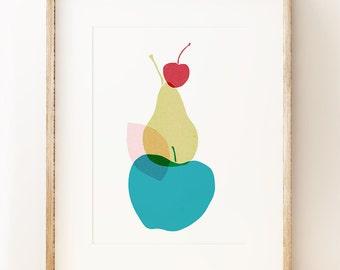 Apple Pear Cherry - graphic fruit wall art print