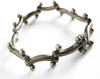 Vintage Sterling Silver Modernist Link Bracelet
