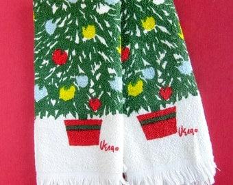 Pair of Vintage Vera Neumann Christmas Tree Tea Towels / Terry Tea Towel Set / Holiday Kitchen Decor