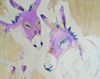 EMERY original painting 'donkeys know their conversation transcends' expressionism folk  outsider donkeys animal rights