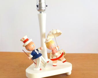 Vintage Childs Lamp Boy Girl • Dancing Singing in the Rain • Wood Characters Nursery Lamp
