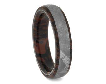 Gibeon Meteorite Wedding Band, Red and Black Mokume Gane Ring With Titanium, Flame Ring For Men