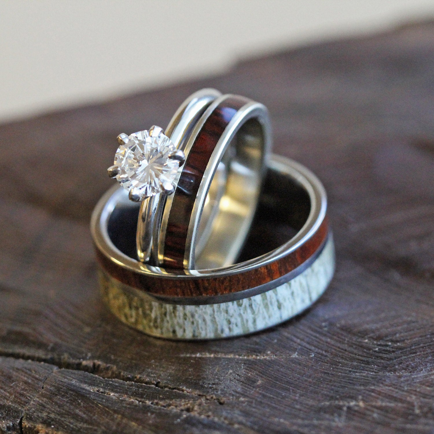 unique deer antler wedding ring set s and