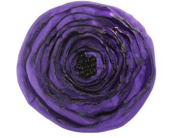 Large Purple Fabric Poppy Brooch