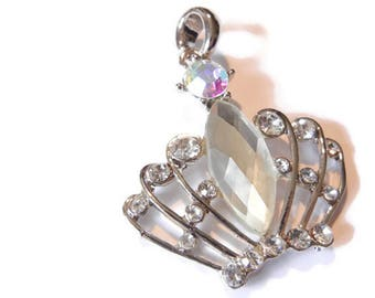 Art Deco-style Crown with Marquis Faceted Crystal Pendant Silver-tone