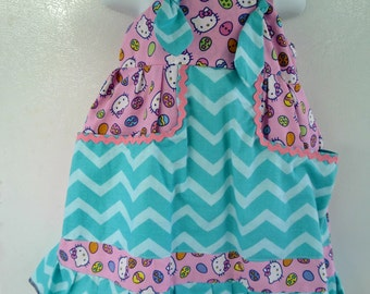 Hello Kitty Easter knot dress with chevron fabric combination and two big pockets in the front