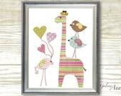 kids wall art Baby Girl nursery art print nursery decor kids room decor nursery wall art Birds nursery Giraffe nursery - Like A Rainbow