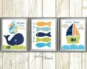 Take a bath Brush your teeth Wash your hands Nursery art nautical whale Boat fish blue navy green bathroom Set of three prints