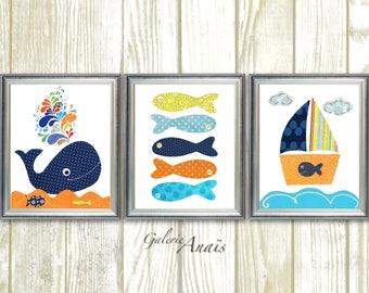 Nautical nursery art whale bathroom art Boat fish orange navy nursery ocean sea nautical bathroom art children's art - Set of 3 prints