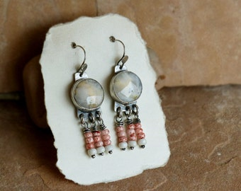 Creamy Lace Agates & Rosy Rustic Glass Beads Sterling Silver Dangle Earrings  . Rustic Boho Tribal Southwest Style Jewelry