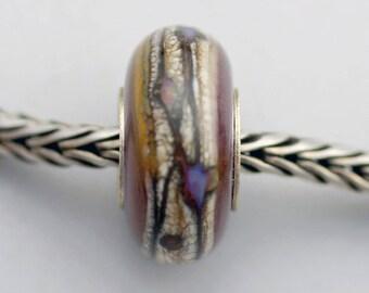 Unique Organic Purple Bead - Artisan Glass Charm Bracelet Bead (MAY-52)