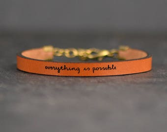 mantra bracelet | encouragement bracelet | everything is possible | aa recovery bracelet | quote band | tiny delicate bracelet | strength