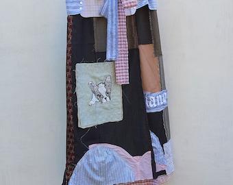 Application skirt - upcycled fabrics - Boston Terrier Puppy Love - Funky Fantasy Skirt - Boho skirt -Festival Clothes - by Resplendent Rags