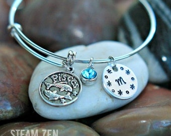 Zodiac Sign with Birthstone Adjustable Bangle Bracelet - Customizable Birthday Bracelet - Birthday Gift - Mother's Day Gift