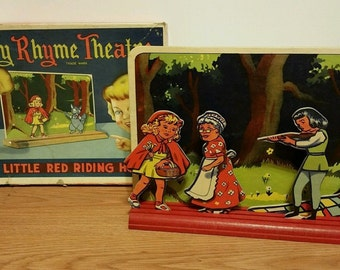 Vintage Nursery Rhyme Theater Little Red Riding Hood- Advance Games Co. USA 1945- Vintage Theatre- Red Riding Hood- Vintage Play Theater