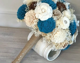 Turquoise and Ivory Wedding Bouquet - sola flowers - Customize colors - bridal bouquet - Alternative bouquet - bridesmaids bouquet