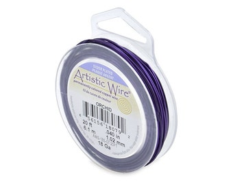 Artistic Wire 18 Gauge Silver-Plated Orchid 41301 Purple Round Wire, Jewelry Wire, Craft Wire, Silver Plated Wire, 18ga Soft Temper Wire