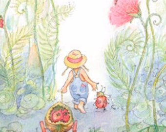 Walking through the Poppies Giclee, Art Print, Friends, Fairy Painting, Print