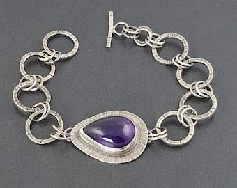 Amethyst Bracelet, link bracelet, chain bracelet, sterling, sterling silver, silver bracelet, silver and amethyst,