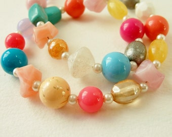 Bright Candy Colour Bead Necklace - Mixed Vintage and New Beads in Cheerful Colourful Jewellery