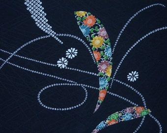 Vintage haori S418,  black rinzu silk