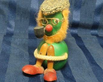 Vintage Wooden Knee Hugger Doll/ Green Leprechaun Gnome Troll w Hat & Pipe/ Japan