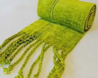 Handwoven Rayon Chenille Scarf, Chartreuse Scarf, Chenille Scarf, Handwoven Scarf, Handwoven Chenille Scarf,  Woven Scarf (#17-09)