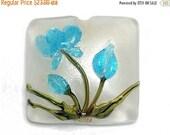 ON SALE 40% OFF Maya Blue Flower Pillow Focal Bead - Handmade Glass Lampwork Bead 11832404