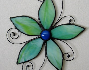 Aqua Lime Stained Glass Flower Suncatcher-Floral Glass Art-Window Decoration-Flower Wall Art-Floral Home Decor