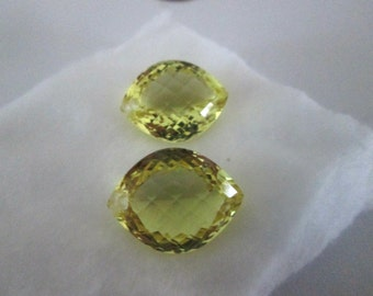 SALE - Luxe AAA+ Lemon Quartz - Matching Pair - Beautiful Marquise - Extreme Concave Shape - Highly Faceted