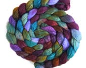 Blueface Leicester/ Tussah Silk Roving (Top) - Handpainted Spinning or Felting Fiber,  Olive Medley