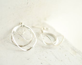 Delicate Circle Earrings, Unique Silver Hoops, Bridal Jewelry
