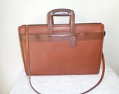 Coach USA made slim  briefcase, court bag ,portfolio in whiskey brown pebbled leather vintage 80-s gorgeous