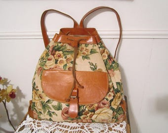 Canvas Backpack Floral Color Leather Backpack