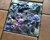 Pacific Seas  Blue Purple Gold Sea Horse Urchins Compass Pieces of Seven Barnacles.. Stoneware Tile